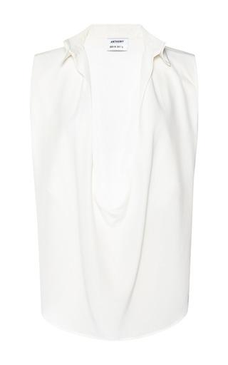 Medium anthony vaccarello white crepe de chine decolete sleeveless white shirt