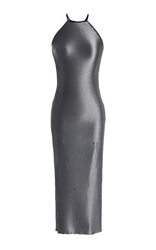 Medium barbara casasola dark grey ribbed pewter fitted dress