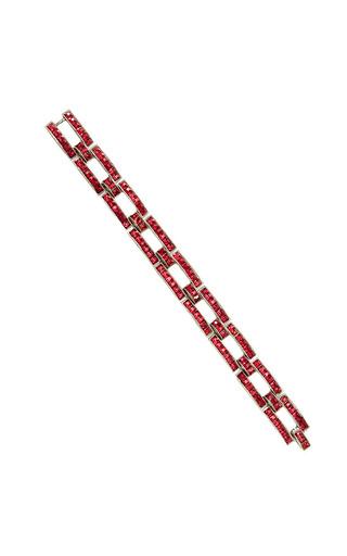 1940 Unsigned, Red Rhinestone Link Bracelet by CAROLE TANENBAUM Now Available on Moda Operandi