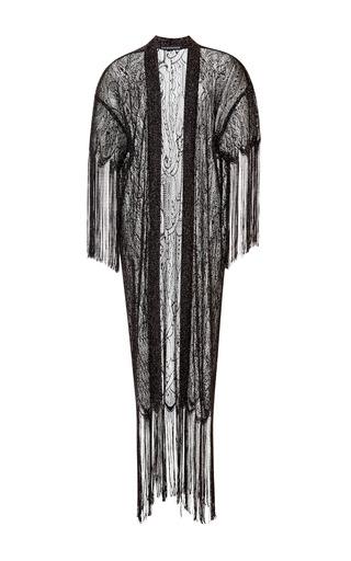 Medium kalmanovich black black fringe cardigan
