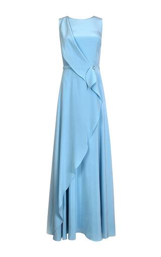 Medium a la russe blue plain silk floor length dress