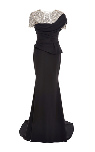 Medium marchesa black crystal embroidered crepe jersey gown