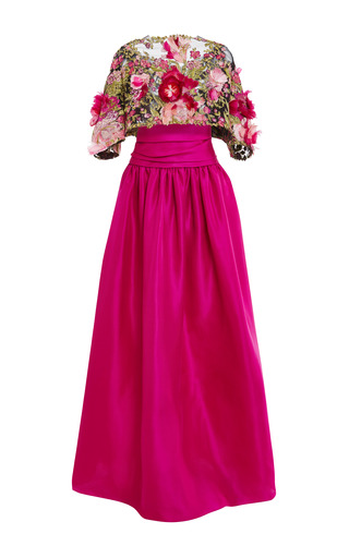 Medium marchesa pink floral feather applique ball gown