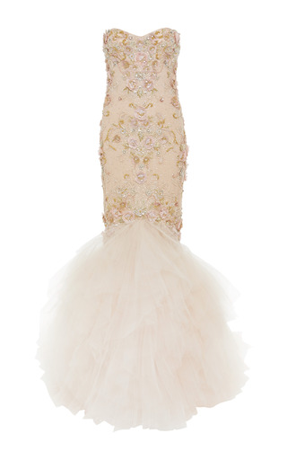Medium marchesa nude embroidered strapless mermaid gown