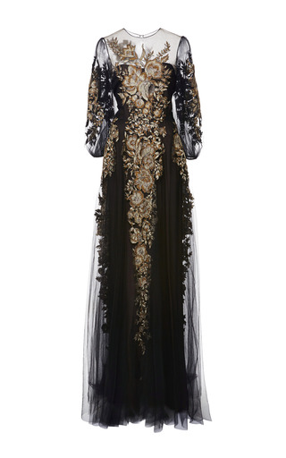 Medium marchesa black embroidered long sleeve gown