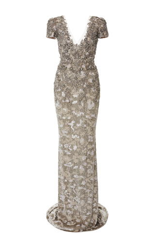 Medium marchesa silver fully embroidered column gown