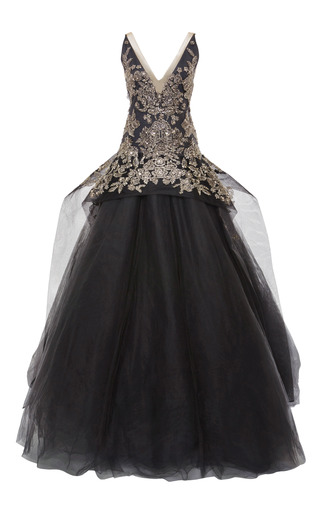 Medium marchesa black embroidered tulle ball gown