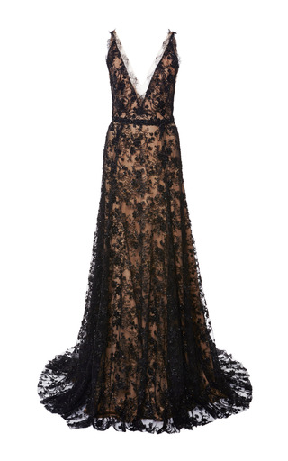 Medium marchesa black embroidered chantilly lace gown