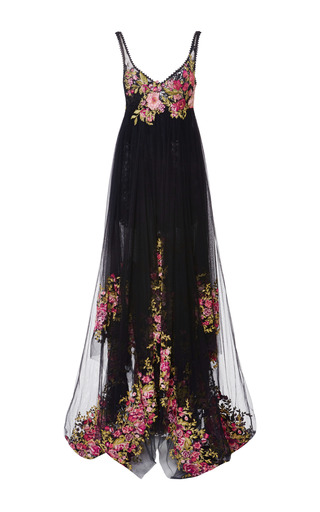 Medium marchesa black embroidered tulle empire ball gown