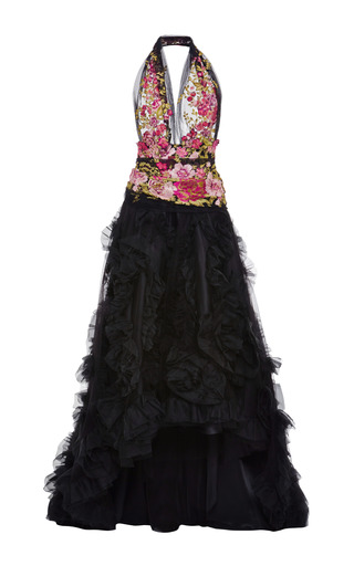 Medium marchesa black ruffled organza halter gown