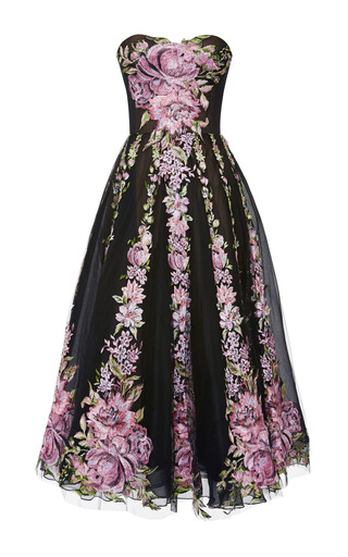 Medium marchesa black floral tulle cocktail dress