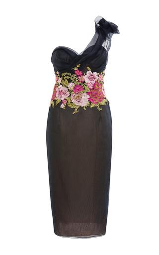 Medium marchesa black one shoulder hand draped cocktail dress