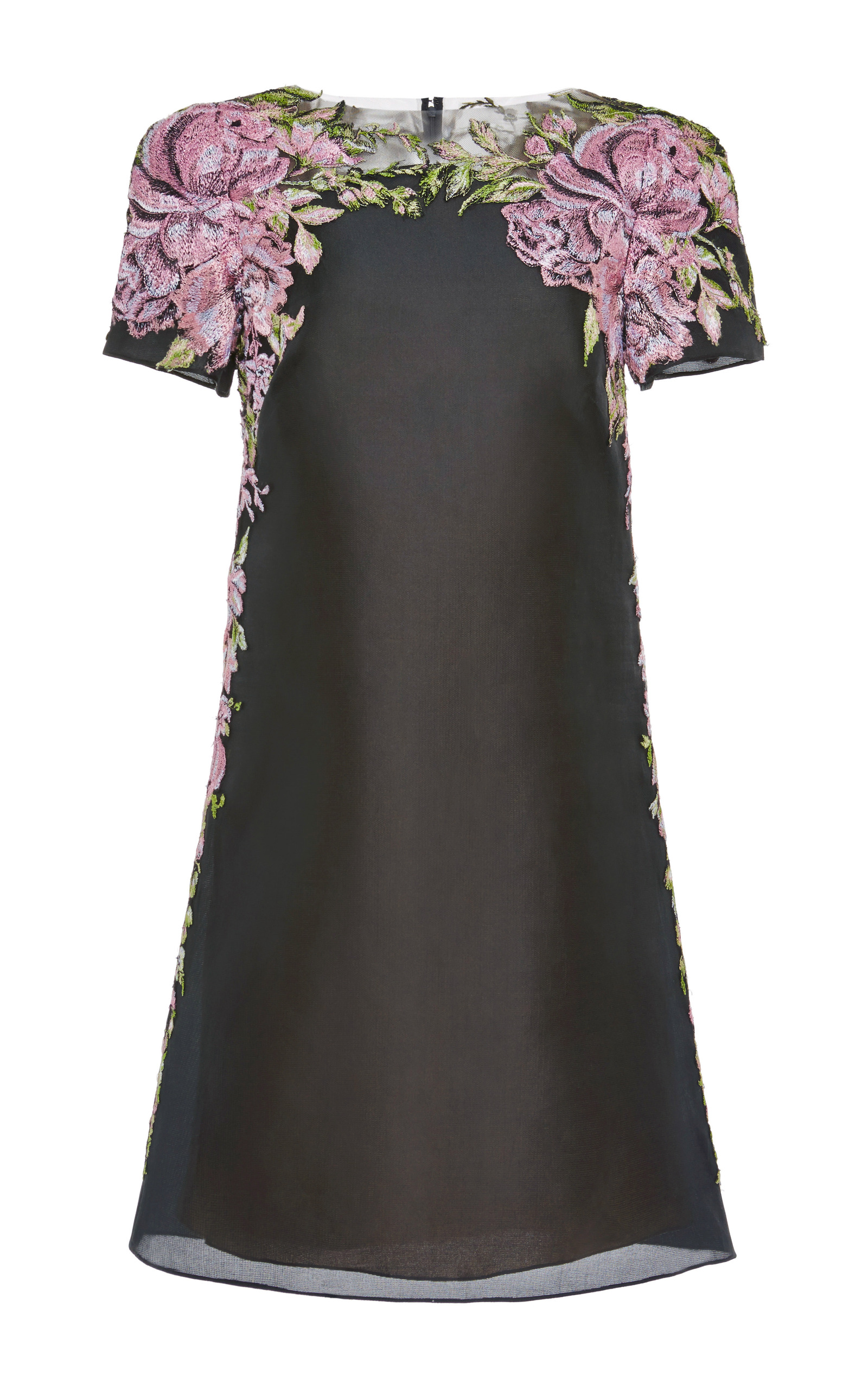Floral embroidered organza shift dress by marchesa moda