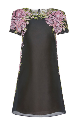 Medium marchesa black floral embroidered organza shift dress