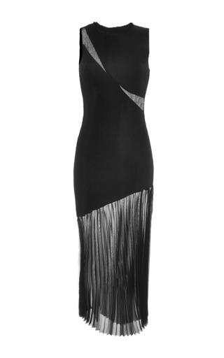 Medium barbara casasola black black dress with sheer pleated skirt