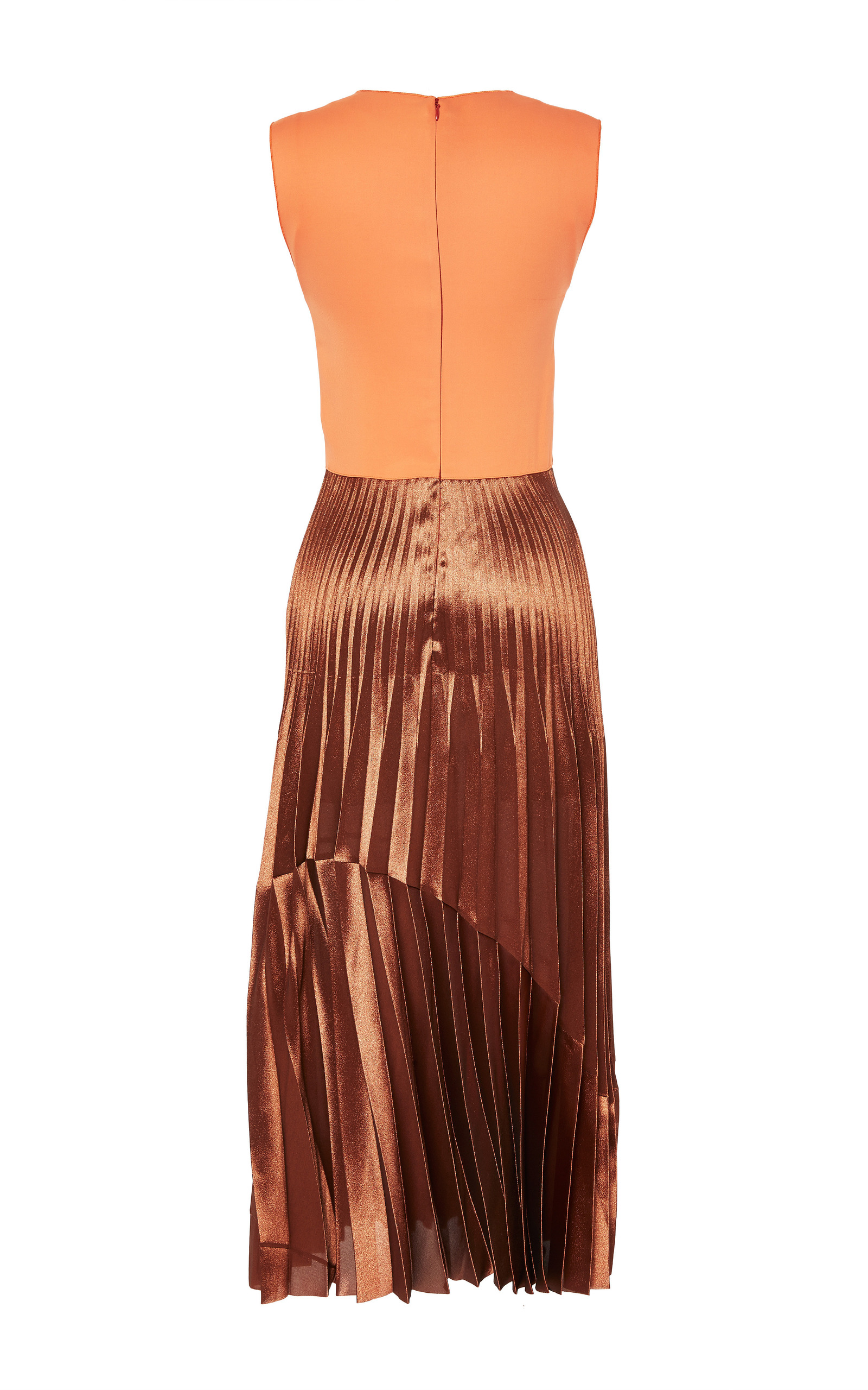 faecda68d2 Tangerine Dress With Bronze Pleated Skirt by Barbara