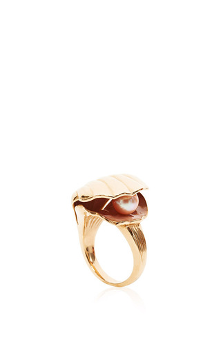 Medium alison lou gold oyster ring