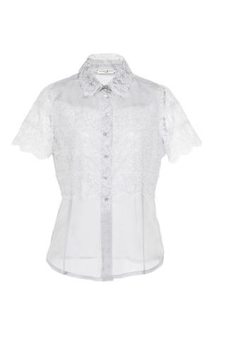 Medium natasha zinko dark grey grey silk organza and lace blouse