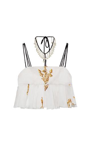 Medium natasha zinko white ivory anchor print silk embellished top