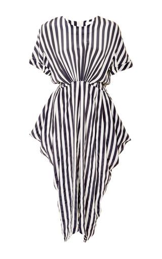 Medium kaelen multi stripe short sleeve side drape dress