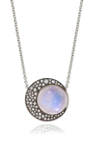 Medium noor fares multi blue moonstone sphere and crescent moon pendant necklace