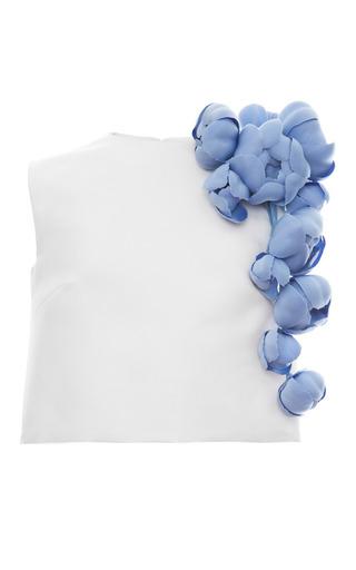Medium esme vie white silk faille magnolia sleeveless blouse