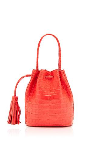 Medium nancy gonzalez red coral crocodile bucket bag