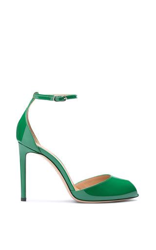 Medium bally green eira grass patent leather peep toe sandal