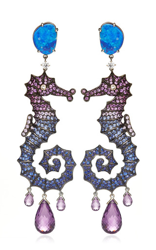 Medium lydia courteille blue 18k yellow gold deep sea earrings with diamonds and fancy sapphires