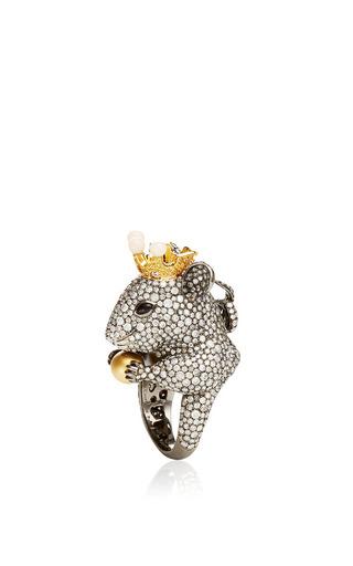 Medium lydia courteille dark grey 18k black gold animal farm ring with diamonds and onyx