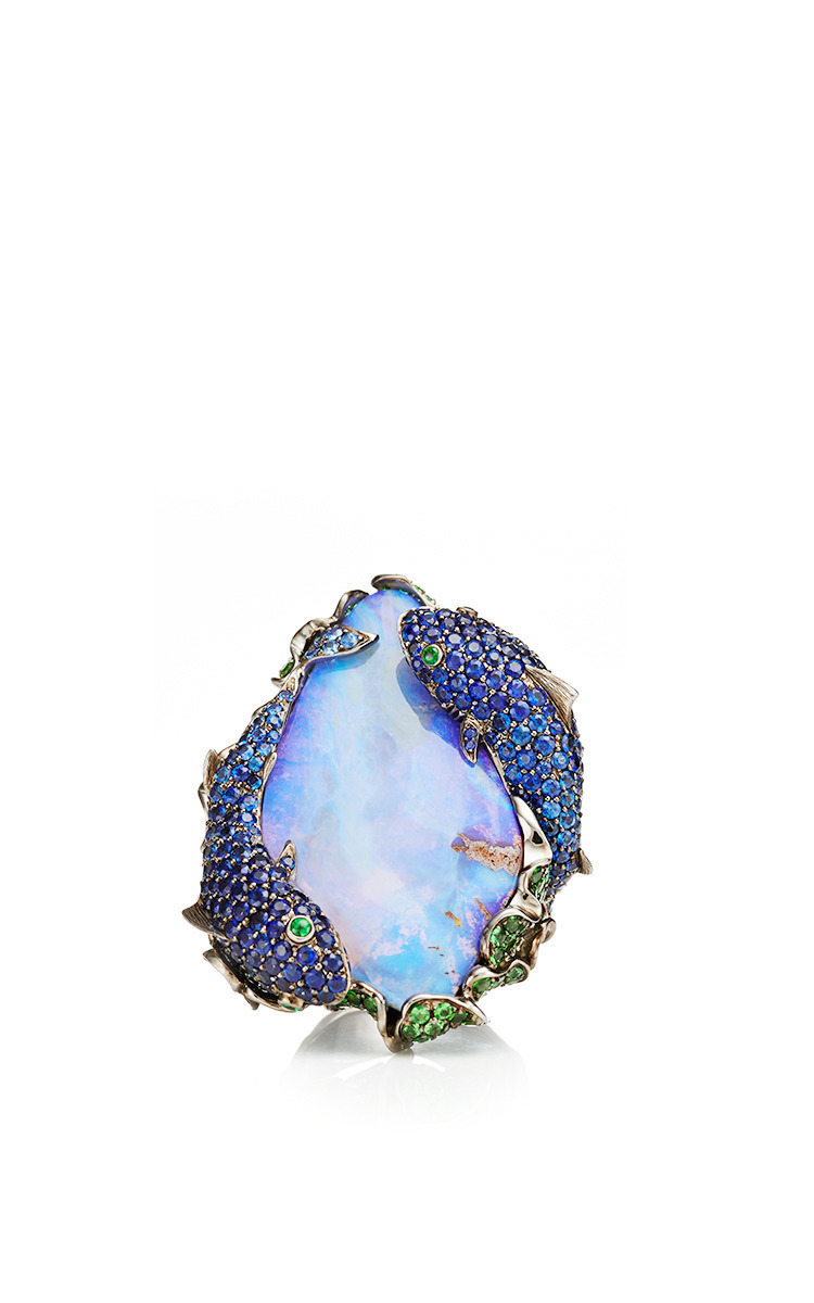 sapphire ring and created opal white item silver sterling