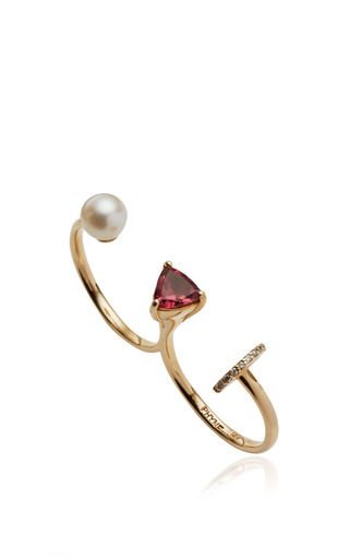 Medium paige novick pink marta double ring with pearl and pink tourmaline