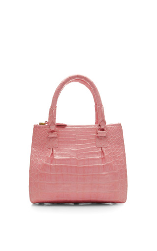 Medium nancy gonzalez pink mini pink crocodile double top handle handbag 2