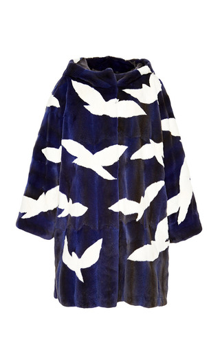 Medium helen yarmak purple violet weasel hooded coat with white birds