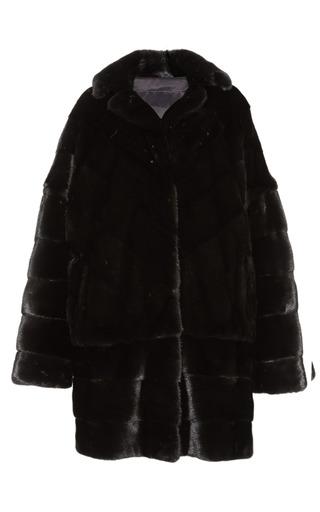 Medium helen yarmak brown reversible ranch mink coat with detachable sleeves and border