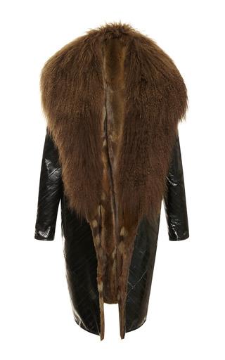 Medium j mendel green eel coat with mongolian lamb collar 2