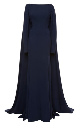 Medium zac posen blue stretch crepe gown 3