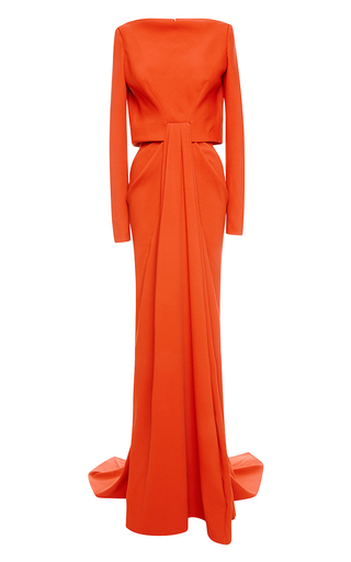 Medium zac posen orange stretch crepe gown 4