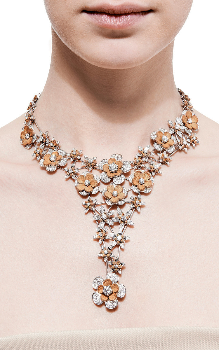 normal collar necklace oasis lyst metal gold product flower metallic jewelry in