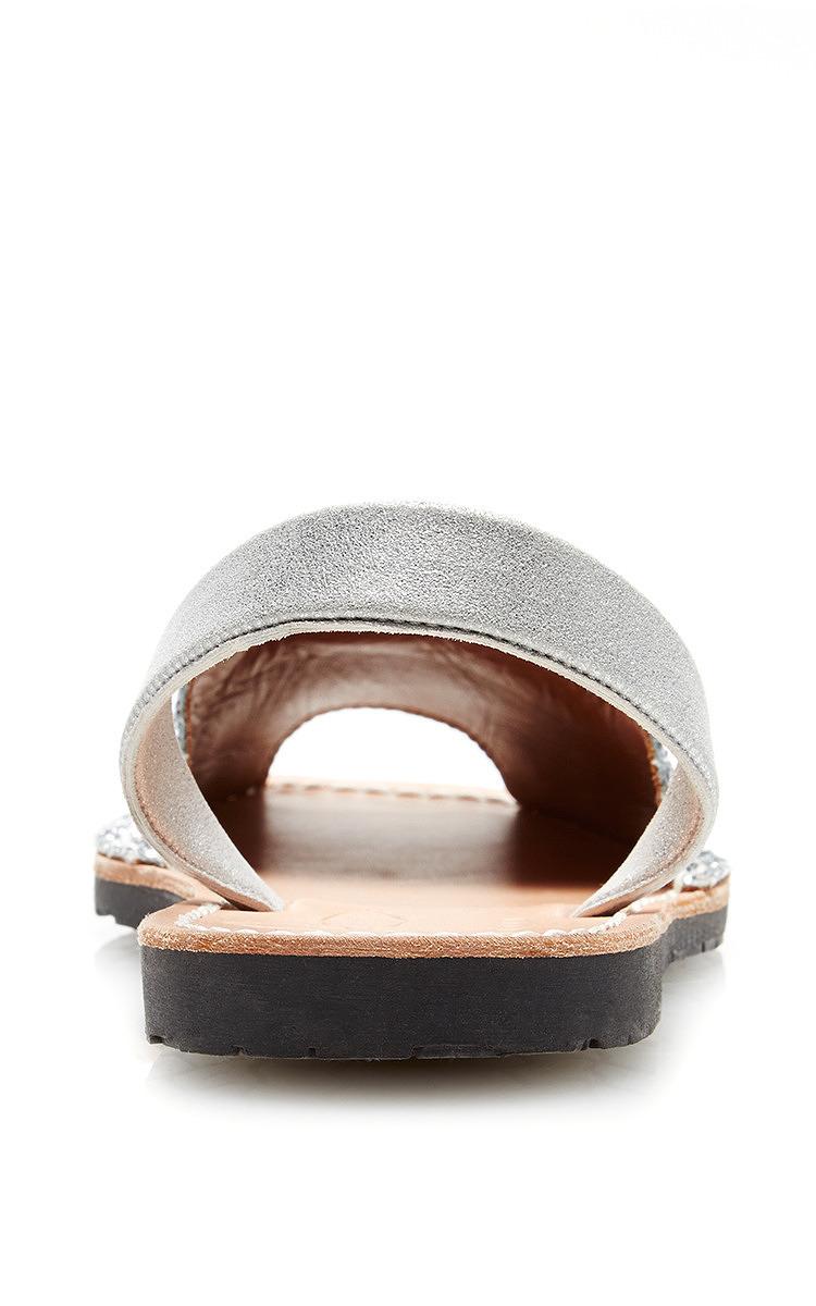 ec1b96ce0dfbe3 del Rio Ibiza Metallic Glitter Fabric Sandal With Silver Suede ...