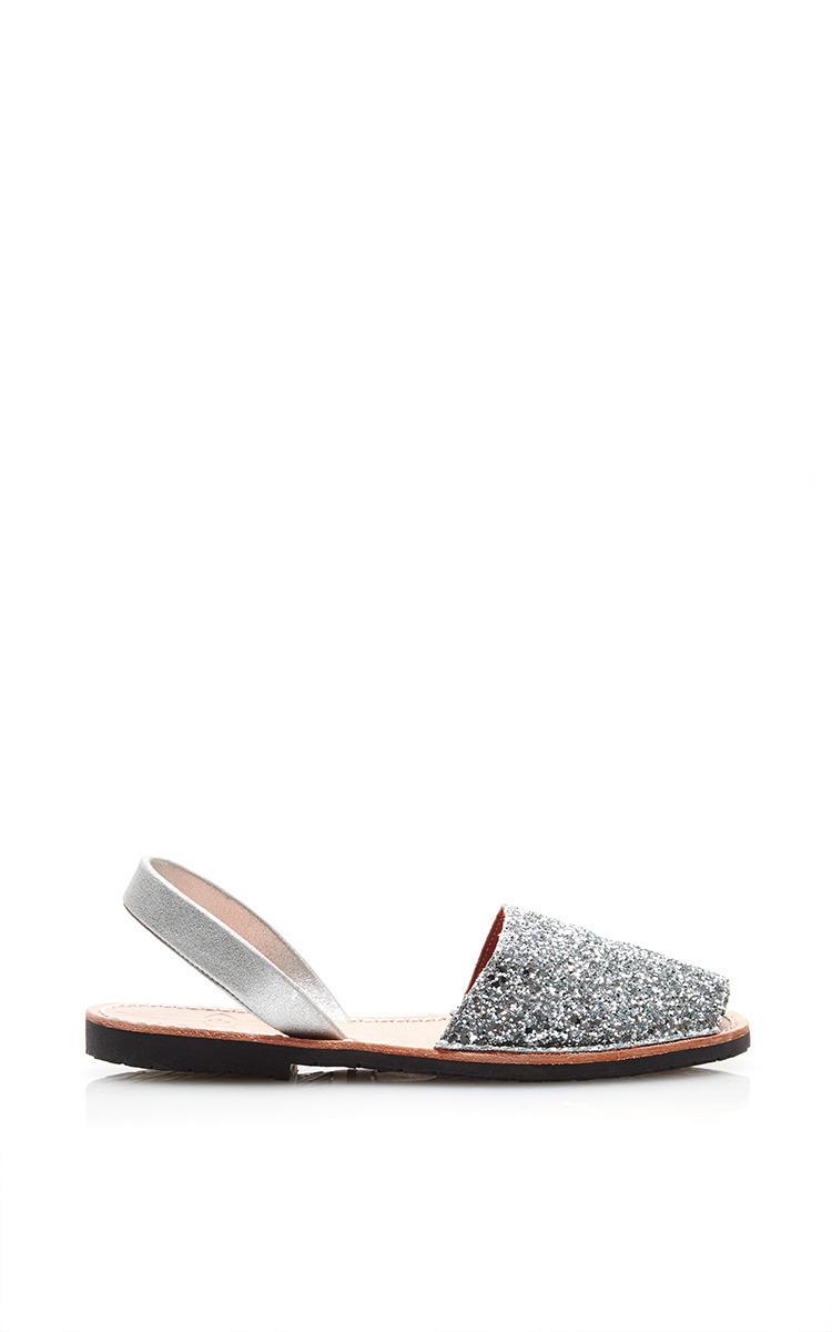 871127b3d5fa18 del Riodel Rio Ibiza Metallic Glitter Fabric Sandal With Silver Suede  Slingback