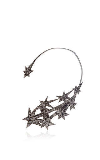 Medium runa black stars ear cuff with black diamonds