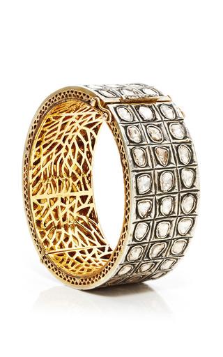 Medium kirat young silver diamond cuff three lines