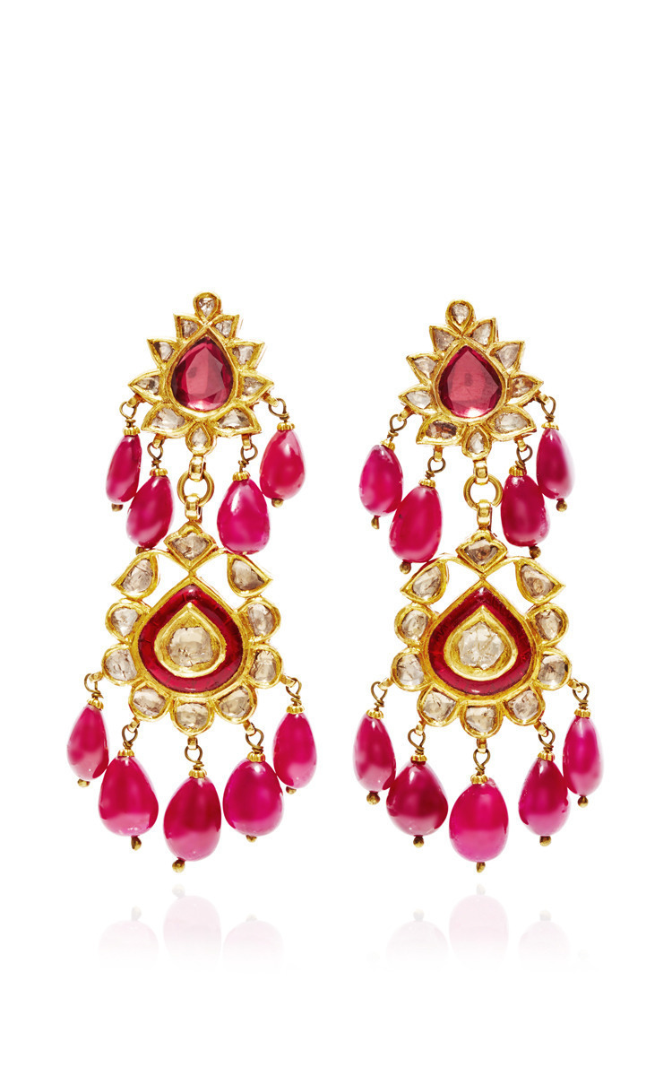 pure jewels for colour polki collection golden antique gold chandbali ethnic indian pearls black dilan women earrings