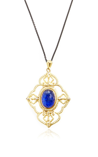 Medium armenta blue 18k yellow gold sueno large open quatrefoil pendant