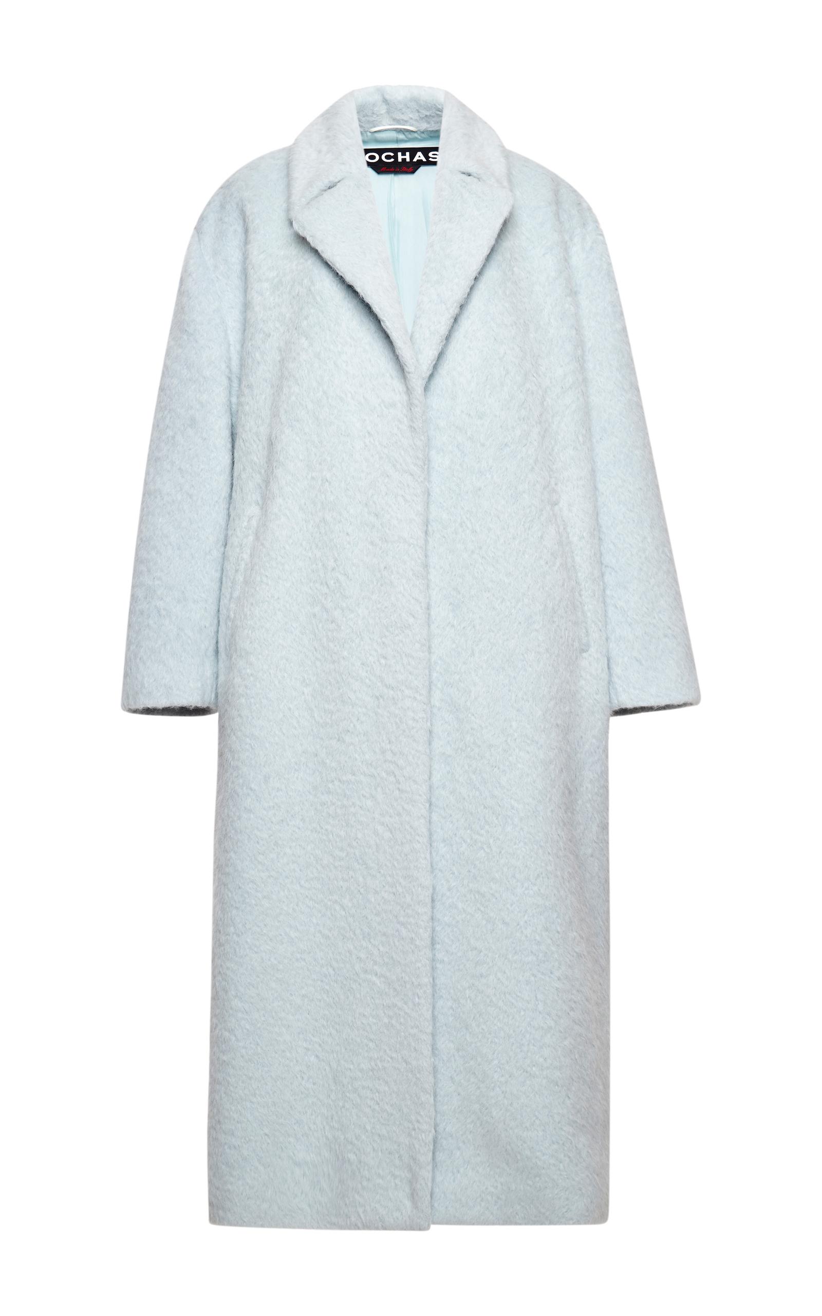 Pale Blue Wool Alpaca Coat by Rochas | Moda Operandi