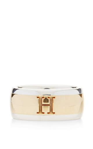 Medium what goes around comes around gold hermes gold and silver stripe h ring