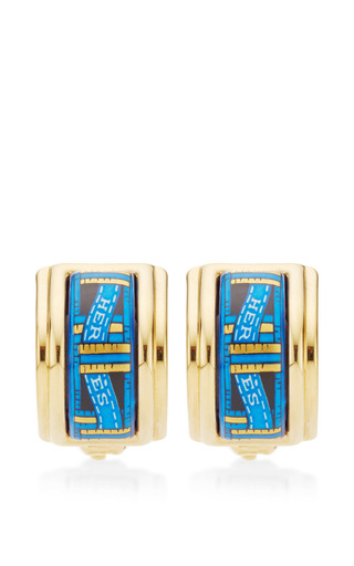Medium what goes around comes around blue hermes blue and gold ribbon motif enamel earrings