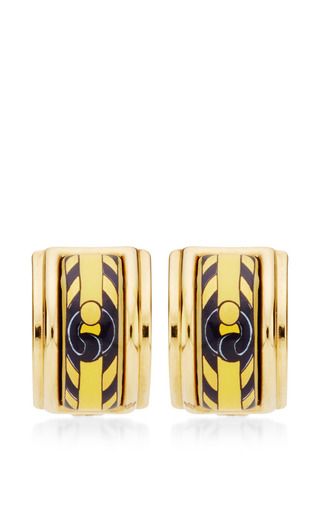 Medium what goes around comes around yellow hermes yellow print enamel earrings