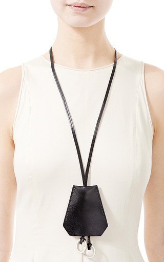 used birkin handbags - Hermes Black Leather Clochette Necklace by What Goes | Moda Operandi